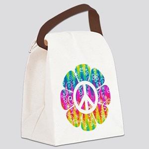Colorful Peace Flower Canvas Lunch Bag