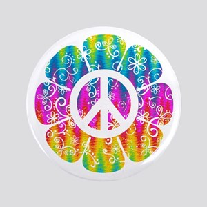 Colorful Peace Flower Button