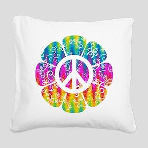 Colorful Peace Flower Square Canvas Pillow