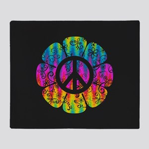 Colorful Peace Flower Throw Blanket