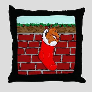 Weiner Dog Xmas Sock Throw Pillow