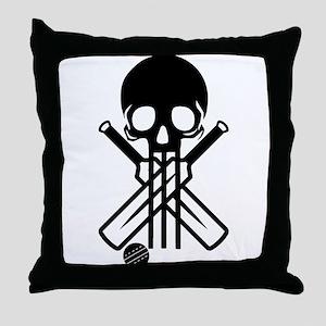 Skull & Cross Cricket Bats Throw Pillow