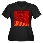 jet420 Women's Plus Size V-Neck Dark T-Shirt