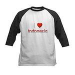 I Love Indonesia Kids Baseball Jersey