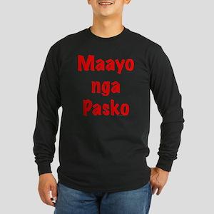 Maayo nga Pasko Red Long Sleeve Dark T-Shirt
