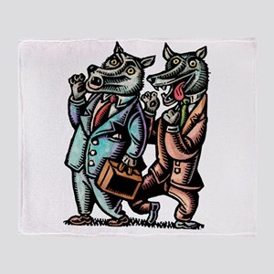 Wolves in Business Suits Wolf Whistl Throw Blanket