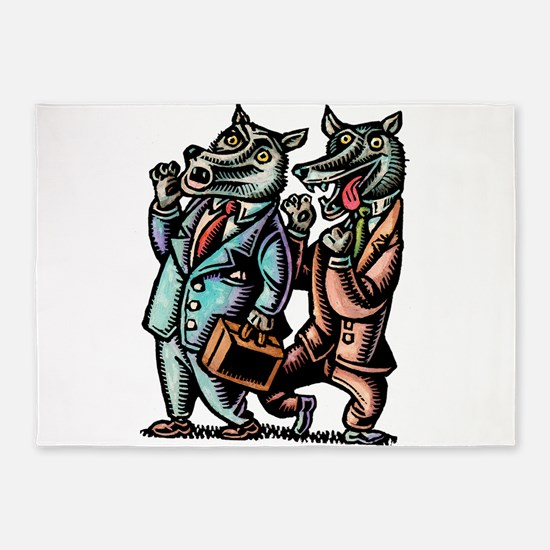 Wolves in Business Suits Wolf Whist 5'x7'Area Rug