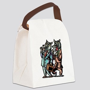 Wolves in Business Suits Wolf Whi Canvas Lunch Bag