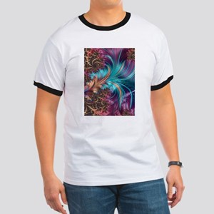 Blue Purple Feather Fractal Artistic T-Shirt