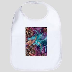 Blue Purple Feather Fractal Artistic Baby Bib