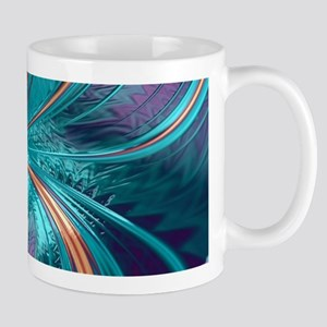 Blue Purple Feather Fractal Artistic Mugs