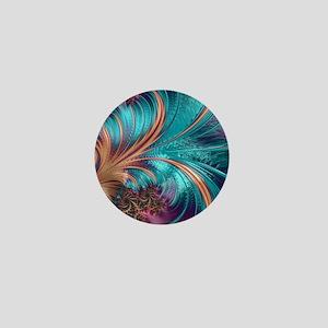 Blue Purple Feather Fractal Artistic Mini Button