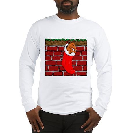 Weiner Dog Xmas Sock Long Sleeve T-Shirt