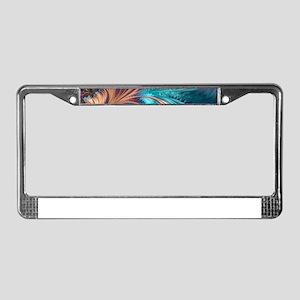Blue Purple Feather Fractal Ar License Plate Frame