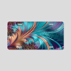 Blue Purple Feather Fractal Aluminum License Plate