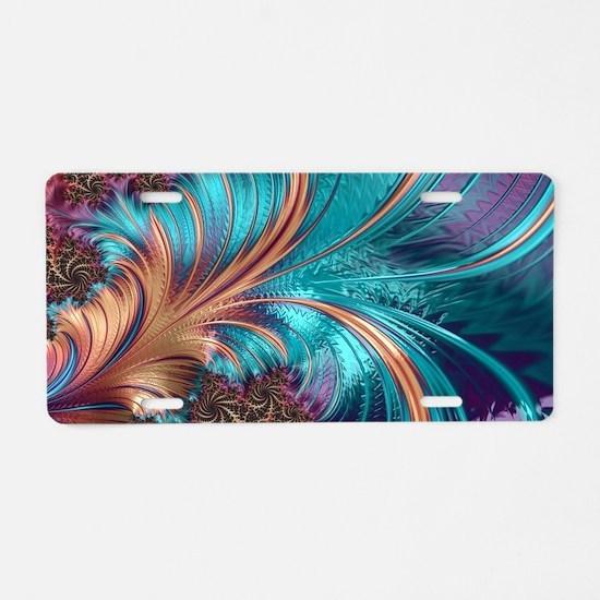 Blue Purple Feather Fractal Aluminum License Plate
