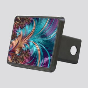 Blue Purple Feather Fracta Rectangular Hitch Cover