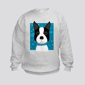 Winter Boston Terrier Kids Sweatshirt