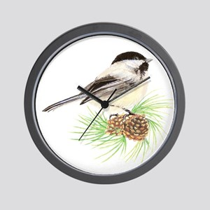 Watercolor Chickadee Bird on Pine cones Wall Clock