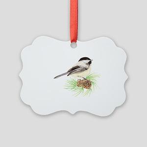 Watercolor Chickadee Bird on Pine Picture Ornament