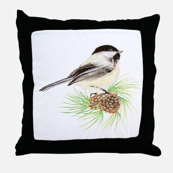 Watercolor Chickadee Bird on Pine con Throw Pillow
