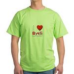 I Love Bali Green T-Shirt