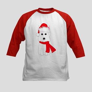 Christmas Westie Kids Baseball Jersey