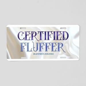 Certified Fluffer creamy white Aluminum License Pl