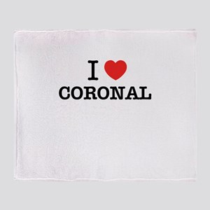 I Love CORONAL Throw Blanket