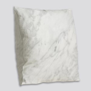 White Marble Burlap Throw Pillow