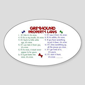 Greyhound Property Laws 2 Oval Sticker