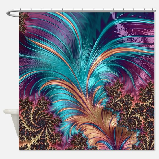 Blue Purple Feather Fractal Artisti Shower Curtain