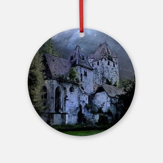 Darkness Halloween Castle Round Ornament