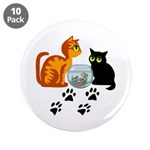 """Fish Bowl Kittys 3.5"""" Button (10 pack)"""