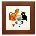 Fish Bowl Kittys Framed Tile