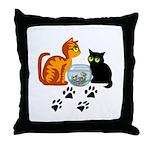 Fish Bowl Kittys Throw Pillow