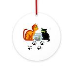 Fish Bowl Kittys Ornament (Round)