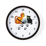 Fish Bowl Kittys Wall Clock