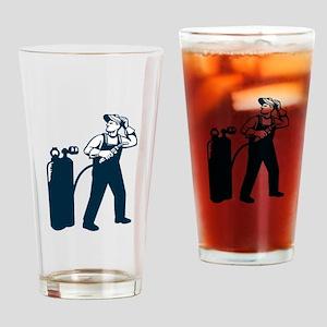 Welder Standing Visor Up Retro Drinking Glass