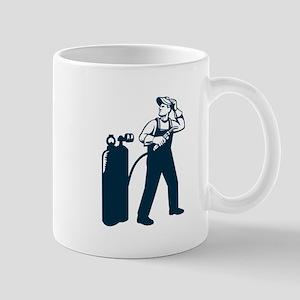 Welder Standing Visor Up Retro Mugs