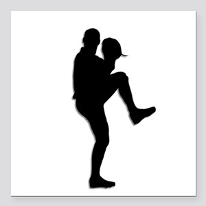 "Baseball Pitcher Square Car Magnet 3"" x 3"""