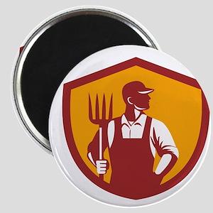 Organic Farmer Pitchfork Crest Retro Magnets