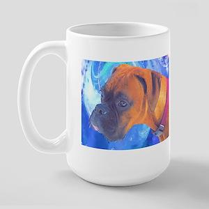 Boxer on Blue Large Mug