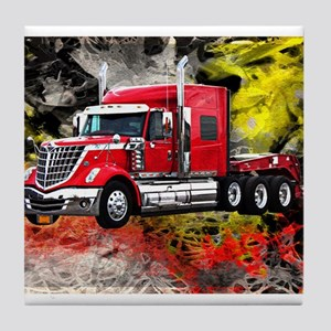 Big Truck - Red and Chrome Tile Coaster