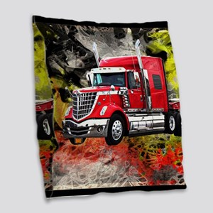 Big Truck - Red and Chrome Burlap Throw Pillow
