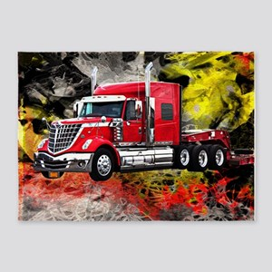 Big Truck - Red and Chrome 5'x7'Area Rug