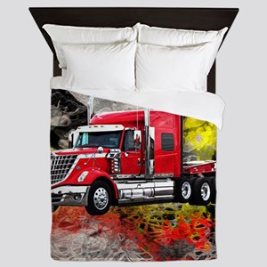 Big Truck - Red and Chrome Queen Duvet