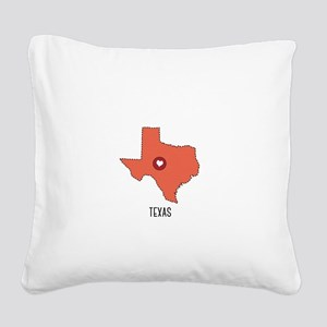 Texas State Heart Square Canvas Pillow