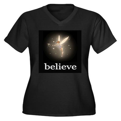 """Believe"" Women's Plus Size V-Neck Dark T-Shirt"
