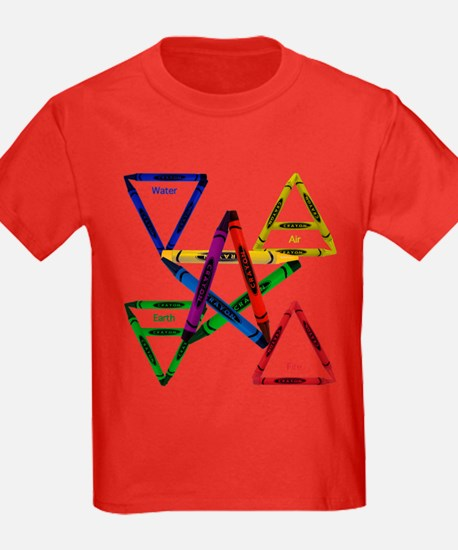 Crayon Element Pentacle Kids Dark Tee